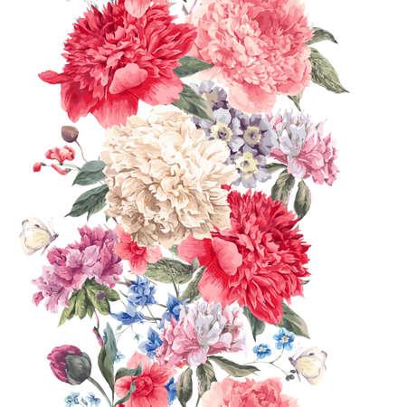ヴィンテージの花のシームレスな境界線、牡丹と野生の花、水彩画植物自然牡丹図の花束。夏花牡丹グリーティング カード  イラスト・ベクター素材