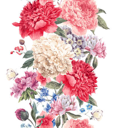 Vintage  floral seamless border, Bouquet of peonies and wild flowers, Watercolor botanical natural peonies Illustration. Summer floral peonies greeting card