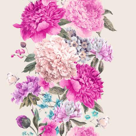 Vintage floral naadloze grens, boeket van pioenrozen en wilde bloemen, aquarel botanische natuurlijke pioenrozen illustratie. De groetkaart van de zomer bloemenpioenen