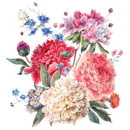 bouquet fleur: Carte de voeux douce décoration florale vintage avec Blooming Pivoines et fleurs sauvages, aquarelle botanique Pivoines naturelles Illustration isolé sur blanc. Banque d'images