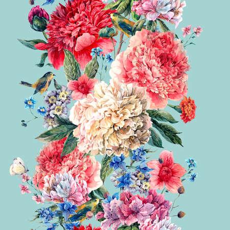 bouquet de fleurs: Vintage floral frontière aquarelle transparente, Bouquet de pivoines aquarelle, des oiseaux et des fleurs sauvages, aquarelle botanique pivoines naturelles Illustration sur bleu Banque d'images