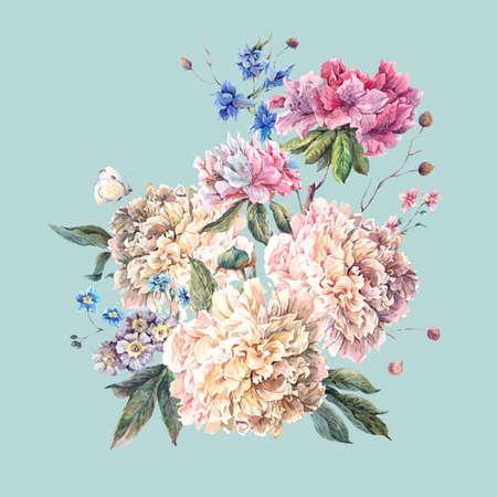 Wenskaart Zachte Decoration Vintage Bloemen met bloeiende Witte Pioenen en wilde bloemen, aquarel Botanische Natuurlijke Pioenen illustratie geïsoleerd op blauw.