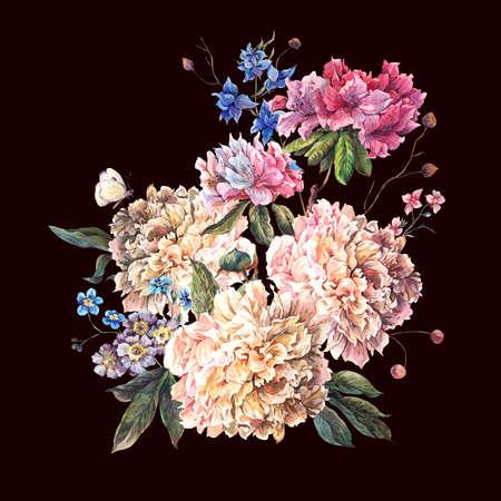Carte de voeux douce décoration florale vintage avec Blooming pivoines blanches et de fleurs sauvages, aquarelle botanique Pivoines naturelles Illustration isolé sur noir.