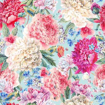 Vintage motivo floreale acquerello senza soluzione di continuità, bouquet di peonie acquerello, uccelli e fiori selvatici, acquerello botanico peonie naturali Illustrazione su bianco.