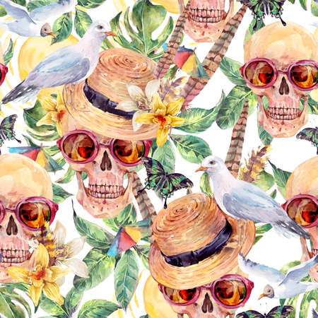 dead insect: Summer watercolor skull Day of The Dead seamless pattern, straw hat, sea gull, tropical leaves, flowers, exotic butterflies and feathers. Hand painted watercolor skull illustration Stock Photo