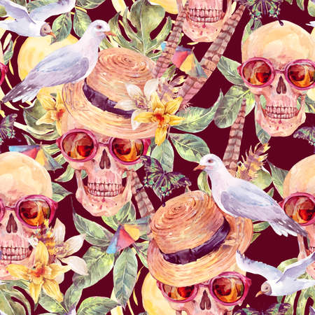 dead insect: Summer watercolor skull Day of The Dead seamless pattern, straw hat, sea gull, tropical leaves, flowers, exotic butterflies and feathers. painted watercolor skull illustration