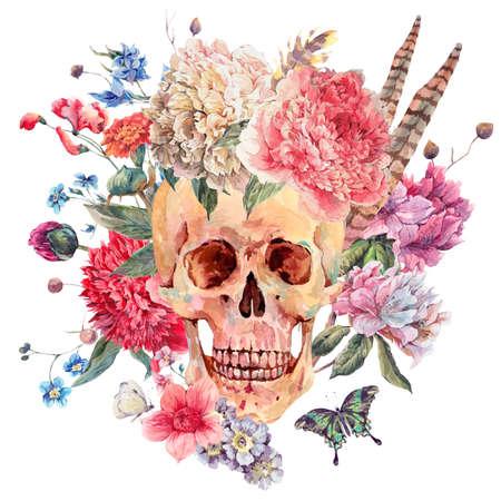 Waterverf het gotische kaart met schedel en roze pioen, wilde bloemen boeket, vlinder. aquarel illustratie geïsoleerd op wit, tattoo ontwerp in boho stijl