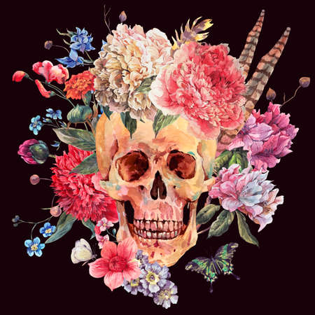 Acuarela tarjeta gótico con el cráneo y la peonía rosa, flores silvestres ramo, butterfly.watercolor ilustración aislado en negro, el diseño del tatuaje en estilo boho