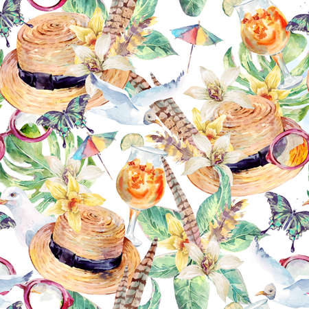 Summer watercolor seamless pattern straw hat, sea gull, tropical leaves, flowers, exotic butterflies and feathers, sunglasses, tropical cocktail. Hand painted nautical illustration