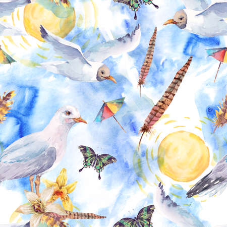 exotic butterflies: Summer watercolor seamless pattern with sea gull, flowers, exotic butterflies and feathers painted nautical illustration Stock Photo