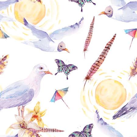 gaviota: Modelo inconsútil de la acuarela del verano con la gaviota de mar, flores, mariposas exóticas y plumas ilustración pintada náutica