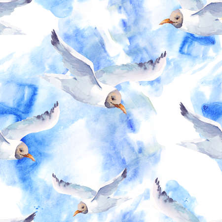 gull: Summer watercolor seamless pattern with sea gull, Hand painted nautical illustration