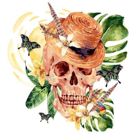 crâne d'aquarelle d'été, les feuilles tropicales, des fleurs, des papillons et des plumes exotiques peintes crâne illustration isolé sur fond blanc. boho Vintage objets d'art