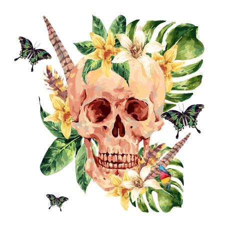 cráneo acuarela verano, hojas tropicales, flores, mariposas exóticas y plumas pintadas ejemplo del cráneo aislado en fondo blanco. boho de la vendimia objetos de arte