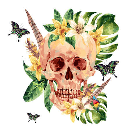 exotic butterflies: Summer watercolor skull, tropical leaves, flowers, exotic butterflies and feathers painted skull illustration isolated on white background. Vintage boho objects art