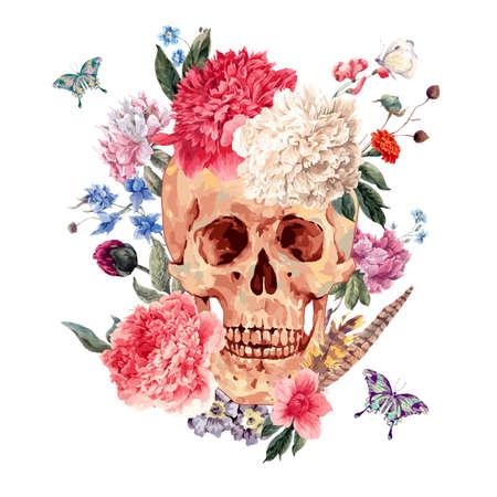 Tarjeta de la acuarela con el cráneo y la peonía rosa, flores silvestres ramo, mariposa. ejemplo de la acuarela aislado en blanco, diseño del tatuaje en estilo boho