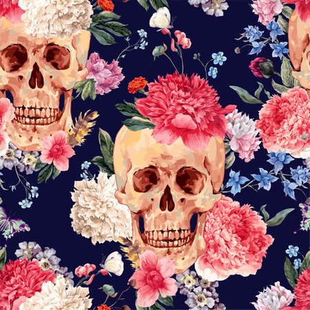 seamless pattern with skull and flowers, peony, wildflowers bouquet, butterfly. illustration in watercolor style on navy blue Ilustração Vetorial