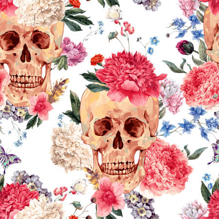 Watercolor seamless pattern with skull and flowers, peony, wildflowers bouquet, butterfly.  watercolor illustration on white Stok Fotoğraf - 57878549