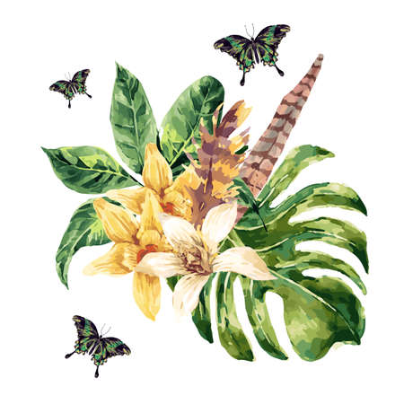 botanical gardens: Tropical green leaves and exotic flowers, butterflies, feathers isolated on white background, nature composition in watercolor style