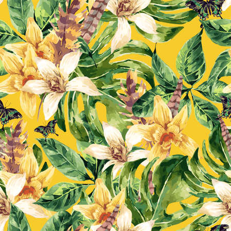 exotic flowers: Vintage floral seamless pattern, tropical green leaves and exotic flowers, butterflies, feathers, nature illustration in Watercolor style