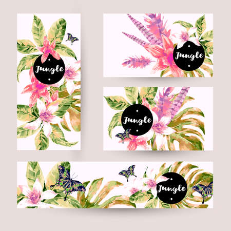 tropical leaves: Vintage summer set with tropical green leaves and exotic flowers, butterflies, feathers in the bohemian style. Nature invitation on white. Botany. Collection decorative design elements.