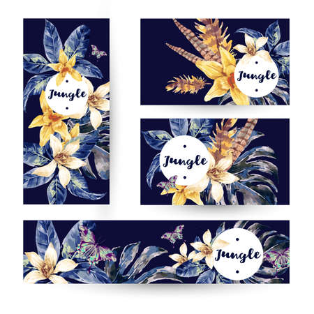 trend: Vintage summer set with tropical green leaves and exotic flowers, butterflies, feathers in the bohemian style. Nature invitation on navy blue. Botany. Collection decorative design elements.