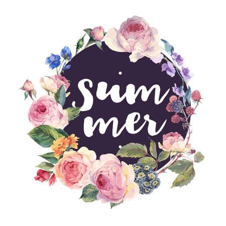 Klassieke vector vintage bloemen ronde frame, aquarel boeket Engelse rozen en wilde bloemen, botanische natuurlijke aquarel illustratie witte achtergrond