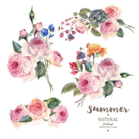 Conjunto de la vendimia ramo floral vector de rosas y flores silvestres en inglés, natural botánico subió Ilustración en blanco. Verano tarjeta de felicitación floral de las rosas