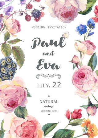 invitación de la boda floral del vector de la vendimia con las rosas y flores silvestres en inglés, natural Ilustración botánica subió. Verano tarjeta de felicitación floral de las rosas
