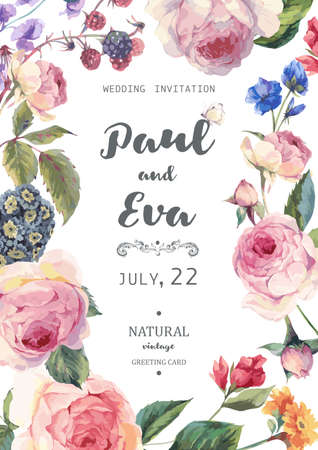 Vintage floral vector wedding invitation with English roses and wildflowers, botanical natural rose Illustration. Summer floral roses greeting card