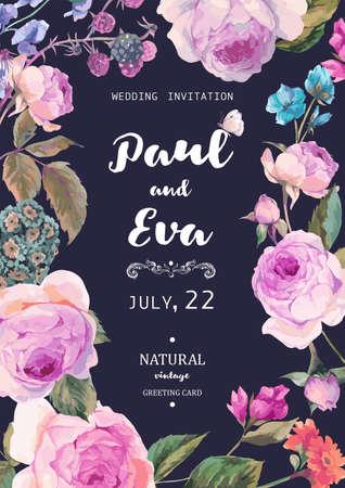 Vintage floral Vektor Hochzeitseinladung mit englischen Rosen und Wildblumen, botanische natürliche Rose Illustration. Sommer Blumen Rosen Grußkarte Vektorgrafik