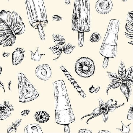 tropical fruit: Tropical vector summer natural eco food seamless pattern with fruit ice cream, summer natural exotic menu card