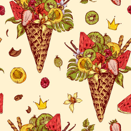 fruity: Summer vector hand drawn seamless pattern with a fruity cocktail in waffle cone, flowers isolated natural illustration, Berries in waffle cones