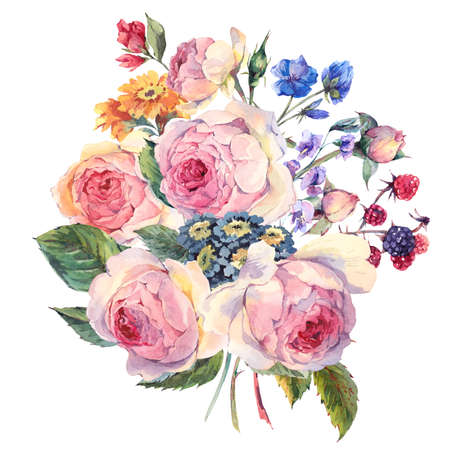 Classical vintage floral greeting card, watercolor bouquet of English roses and wildflowers, botanical natural watercolor illustration on white Background
