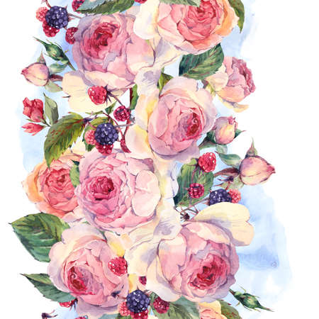 Classical vintage floral seamless border, watercolor bouquet of English roses and wildflowers, botanical natural watercolor illustration on white background Stock fotó