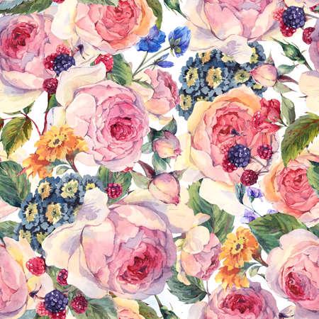 古典的なヴィンテージ花柄シームレスなパターン、イングリッシュ ローズや野の花、白い背景の上の植物の自然な水彩イラストの水彩花束 写真素材