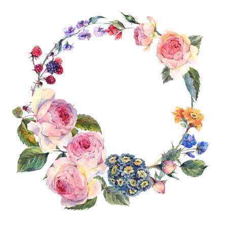 Watercolor summer greeting card, Vintage wreath of flowers bouquet with English roses and wildflowers, Watercolor summer decoration botanical natural watercolor illustration Stockfoto