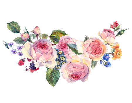 english: Classical vintage floral greeting card, watercolor bouquet of English roses and wildflowers, botanical natural watercolor illustration on white Background