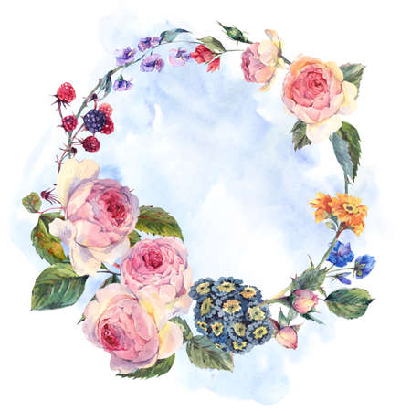 Watercolor summer greeting card, Vintage wreath of flowers bouquet with English roses and wildflowers, Watercolor summer decoration botanical natural watercolor illustration Foto de archivo