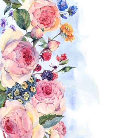 wedding bouquet: Classical vintage floral greeting card, watercolor bouquet of English roses and wildflowers, botanical natural watercolor illustration on white Background