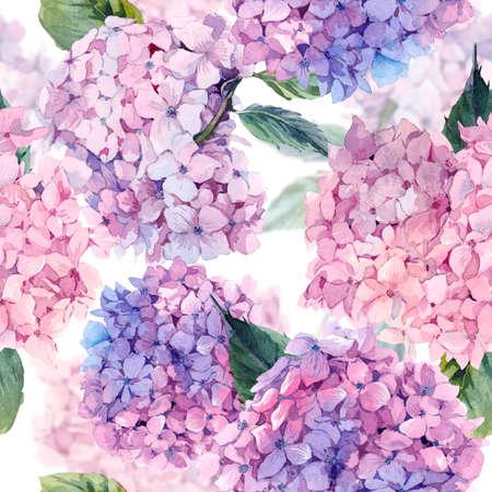 夏水彩ヴィンテージ花柄シームレス パターンに咲くアジサイ、植物自然紫陽花の図