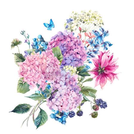 Wenskaart zomer Aquarel Vintage Bloemen met bloeiende Hydrangea en tuin bloemen, aquarel botanische natuurlijke hydrangea illustratie op wit wordt geïsoleerd