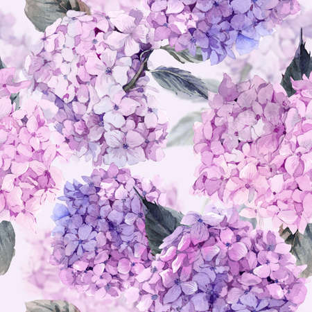the petal: Summer watercolor Vintage Floral seamless pattern with Blooming Hydrangea, botanical natural hydrangea Illustration