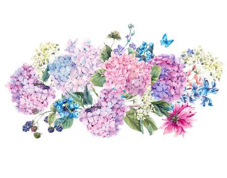 夏に咲くアジサイと庭の花水彩画ヴィンテージ花の花束、水彩画植物自然紫陽花の図は、白で隔離