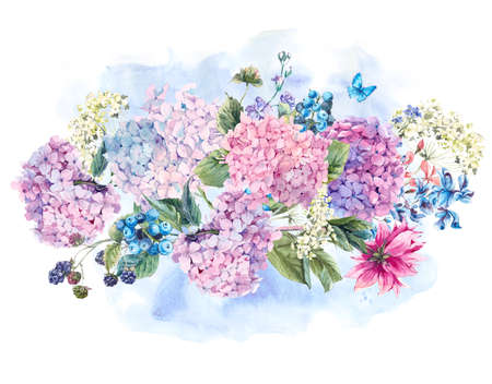 garden flowers: Summer Watercolor Vintage Floral bouquet with Blooming Hydrangea and garden flowers, Watercolor botanical natural hydrangea Illustration isolated on white