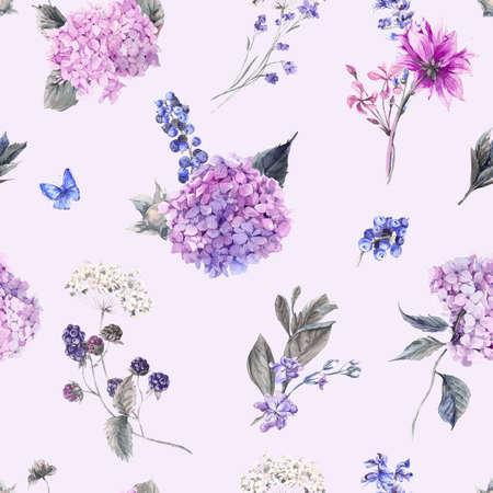 夏水彩ヴィンテージ シームレス花柄咲くアジサイと庭の花の水彩画植物自然紫陽花の図