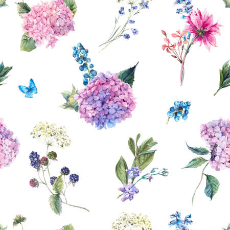 Summer Watercolor Vintage Floral seamless pattern with Blooming Hydrangea and garden flowers, Watercolor botanical natural hydrangea Illustration