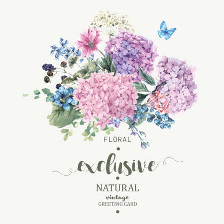Summer Vintage Floral Greeting Card with Blooming Hydrangea and garden flowers, botanical natural hydrangea Illustration on white in watercolor style. Vectores