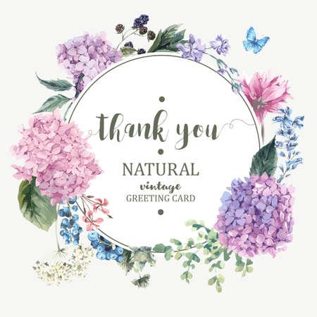 피 수국와 정원의 꽃과 여름 빈티지 꽃 인사말 카드, 당신은 수채화 스타일에서 흰색에 자연 수국 그림 식물 감사합니다.