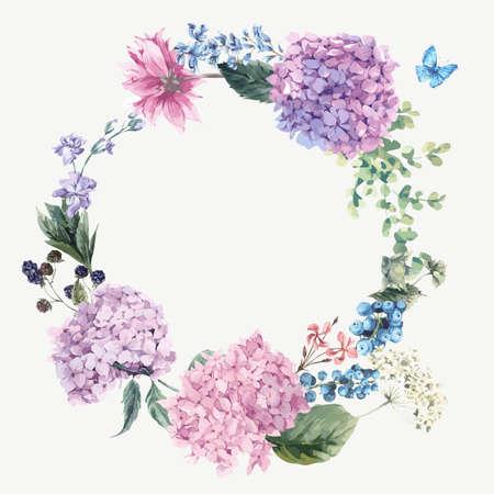 La guirnalda de felicitación floral de la vendimia del verano con el Hydrangea floreciente y flores de jardín, botánico hortensias naturales Ilustración en blanco en el estilo de la acuarela.